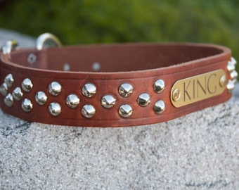 Big Dog Cone Stud Dog Collar, Personalized Leather Dog Collar, Studded Leather Dog Collar, Pit Bull Dog Collar