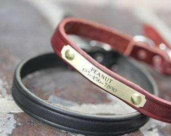 Small Dog Collar // Small Pet Collar // Leather Collar // Dog Collar // Puppy Collar // Personalized Pet Collar // Engraved Name Dog Collar