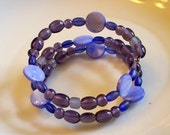 Beaded Blessings - Pretty Purple Glass Memory Wire Bracelet - Sale - was 12.00 - FREE SHIPPING to US and Canada