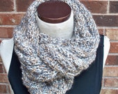 Pale and Neutral Hand Knit Soft Draping Cowl - FREE SHIPPING to US and Canada