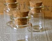 10 pcs-  Miniature Glass Bottle with Cork Top No 55- 30 mm x 20 mm