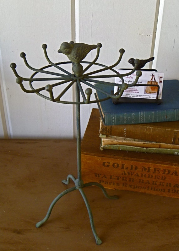 Gracie- Antique Faded Style Grey jewelry stand with bird wrought iron