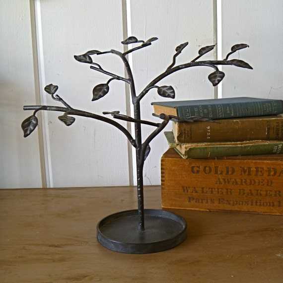 Julia- Jewelry Tree Metal Display with Leaves and Metal Tray