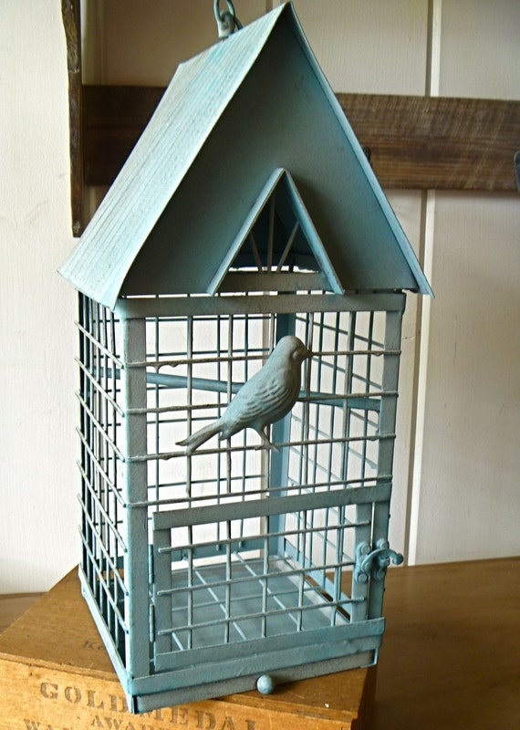 French Country Large Blue Bird Cage Great For Shop Display