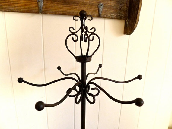 Lianne- Necklace Jewelry Stand with Crown Top with 6 hooks- wrought iron black brown color