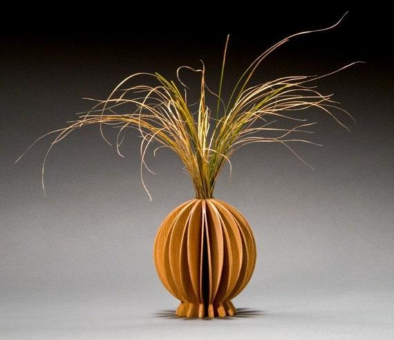 Lotus contemporary wood vase