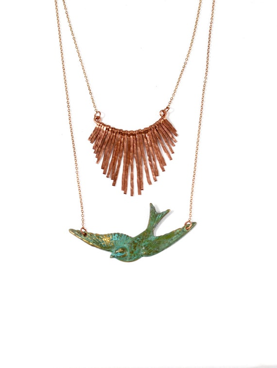 Copper Fringe Necklace Copper Jewelry