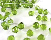 Olive Green Faceted Top Drilled Crystal Teardrops 10x10mm Pkg of 18 (L1) 9/12