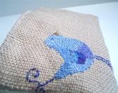 Hand Embroidered Birdie Design Pouch 7.5 x 4.5