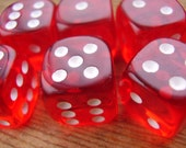6 ruby red miniature dice jewelry components