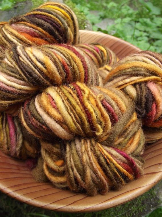 Handspun yarn, handpainted Merino Rambouillet wool yarn, multiple skeins available, free shipping through the 27th-FALLEN LEAVES