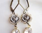 Lauren Earrings - Gray Roses with Vintage Jewels