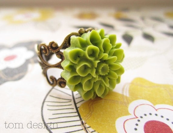 Lime Green Lillian Mum Ring - NEW SALE PRICE