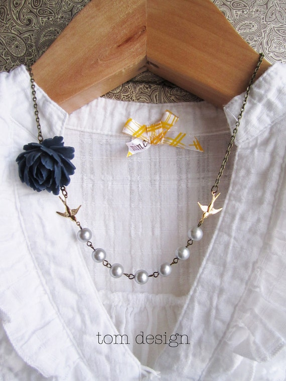 Sydney Drop Rose Necklace - Navy Rose with Silver Pearls and Swallows - 40% off CLEARANCE