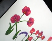 Custom Flower Letter Name Art- Original Color Pencil Drawing