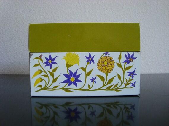 columbine and marigolds...VINTAGE recipe BOX