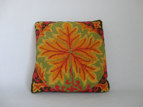 VINTAGE needlepoint PILLOW with leaf design (autumnal colors)