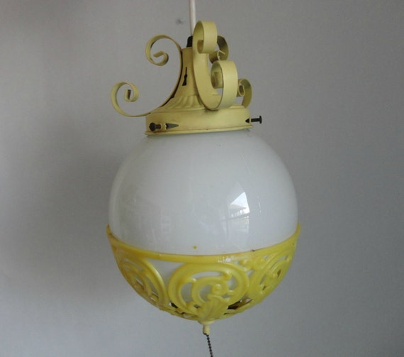canary yellow...VINTAGE swag // pendant // hanging LIGHT FIXTURE (plugs in // no hard wiring)