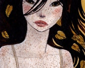 Lace and Gold - Original ACEO - miniature artwork