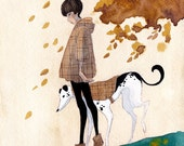FREE SHIPPING - An Autumn Walk - 5.5 x 6 Original Painting