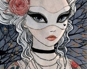 Evening Masque - 3.5 x 5 Original Painting - ink and watercolor - original painting