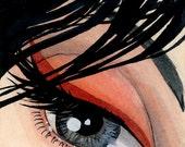 SALE - Dramatic Eye  - Original ACEO - 2.5 x 3.5 miniature artwork - one of a kind