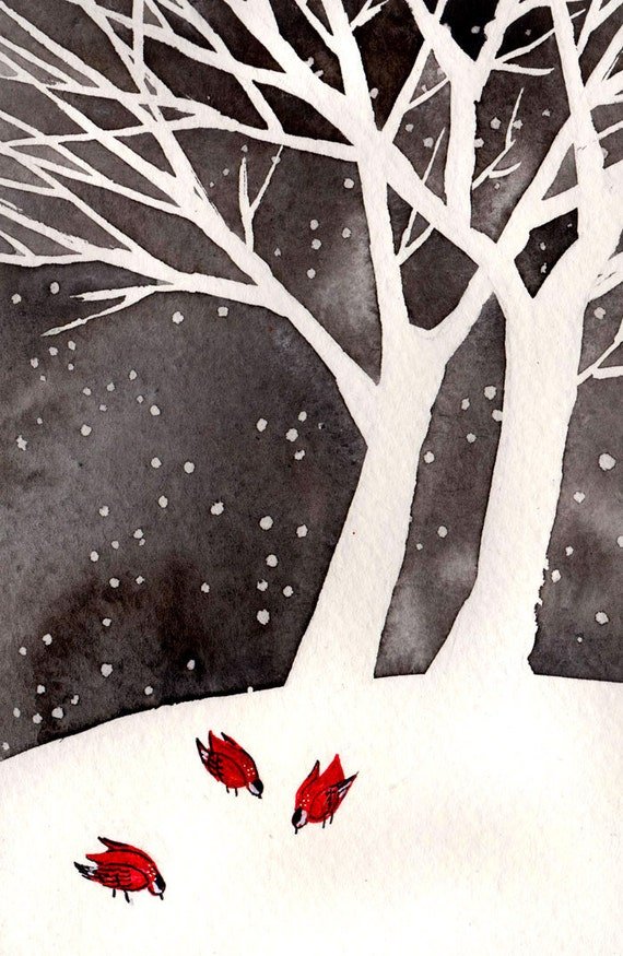 Winter Birds - 4x6 Original Painting, watercolor and ink