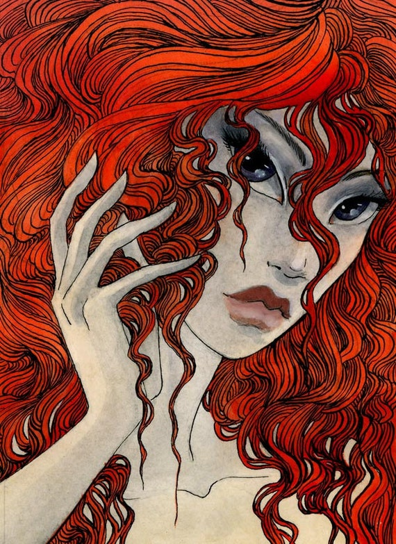HOLIDAY SALE - Scarlet Mane - 4.5 x 6.5 Original Painting -  ink, watercolor, and acrylic