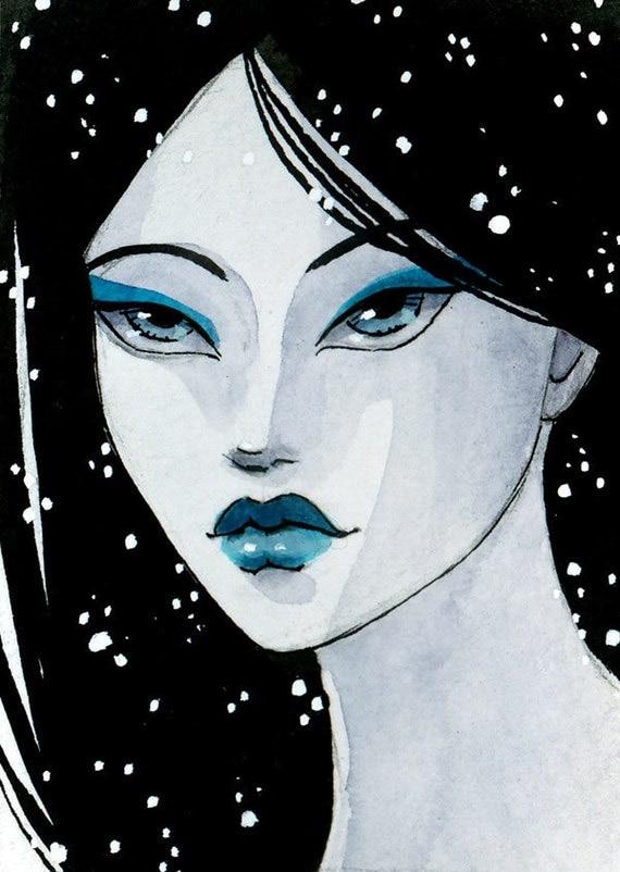 SALE - The Ice Princess - Original ACEO - 2.5 x 3.5 miniature artwork - one of a kind