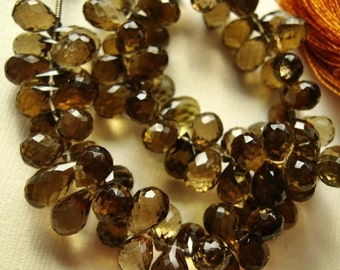 Whiskey Quartz Gemstone Bead, Faceted Teardrop Briolette, 10-12mm. Semi Precious Gemstone Briolette. Pairs or NonMatching 1-5 Brios (4J12)