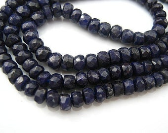 Sapphire Gemstone.  Faceted Rondelles, 4.5mm.  Precious Gemstone. Your Choice Strand..   (55sap).