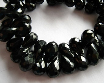 Black Spinel Gemstone Bead. Black Teardrop Briolette, Semi Precious Gemstone. 9-10mm - Pairs or Non Match 1 to 9 Briolettes   (11bs1)