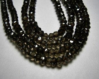 Smokey Quartz Gemstone Bead, Semi Precious Gemstone.  Faceted Rondelle. 3mm. Your Choice. (5QS1). Last Ones