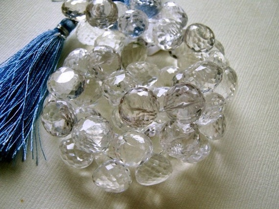 Rock Crystal Gemstone. Micro-Faceted Onion Briolette, 10-11mm.  Semi Precious Gemstone. Packet of 2.  (4B2). Reduced from 7.80