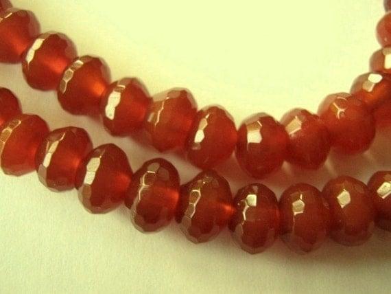 Carnelian Gemstone. Last Ones. Large Faceted Rondelles, 8mm.  Packet of 8... (11CN). Reduced from  9.20