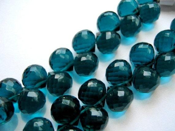Teal Hydro Quartz Gemstone. Faceted  Onion Briolettes. 8mm. Semi Precious Gemstone. Packet of 3  (GHQT2n). LAST ONES
