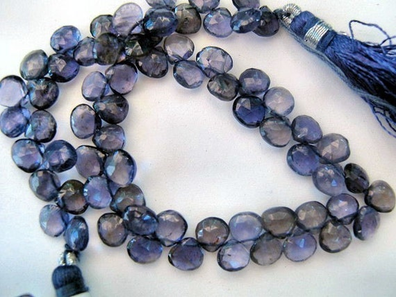 IOLITE Gemstone , Evening Blue Faceted Heart Briolettes.  5mm. Semi Precious Gemstone Briolette.  Pkg of 4. (4T19). Was  6.70. Last Ones