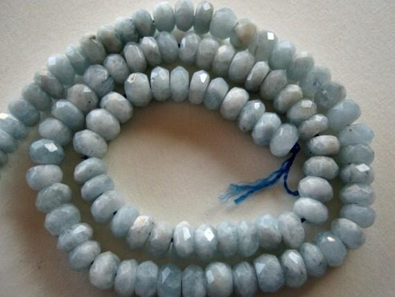Aquamarine Gemstones.  Faceted Rondelles, 7x4mm. Packet of 6... (1AQ)