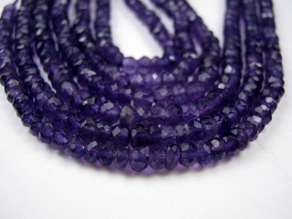 Amethyst Gemstone.    Faceted Rondelles, 4mm. Packet of 12  ... (2am6)