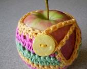Crochet Apple CozyCosy Jacket hot pink green yellow stripes fits small to medium apple