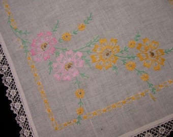 Vintage Hand Embroidered White Linen Table Runner with Lace Edge