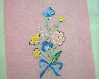 Vintage Pink Linen Tea Towel with Embroidery and Hemstitching