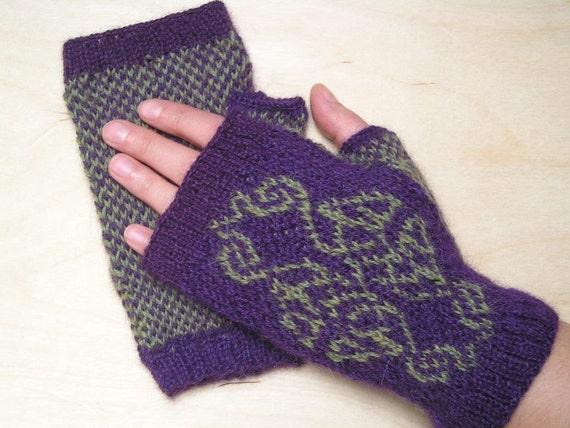 Knitting Pattern for Celtic Knot Fingerless Gloves Wristers