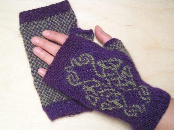 Knit Celtic Knot Hat Pattern : Knitting Pattern for Celtic Knot Fingerless Gloves Wristers