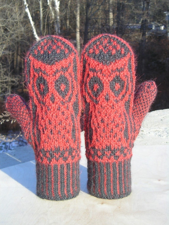 Knitting Pattern for Owl Mittens pdf