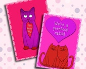 """Printable Cat Valentine Card Digital Download Collage 2 Sheets of 2.5"""" x3.5"""" Cards INSTANT DOWNLOAD"""