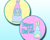 Download Bunny Rabbit Easter Round Circle Images Clip Art 1 Inch and 1.25 Inch Diameter Cup Cake Toppers Stickers