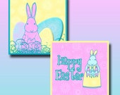 """Square Easter Spring Bunny Downloads Digital Collage Sheet of 1"""" Inch  and 1.25 Inch Square Pastel Images"""