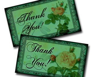 Printable Thank You Note Cards Teal Green with Rose Digital Download Collage Sheet 3.5 Inches x 2.5 Inches