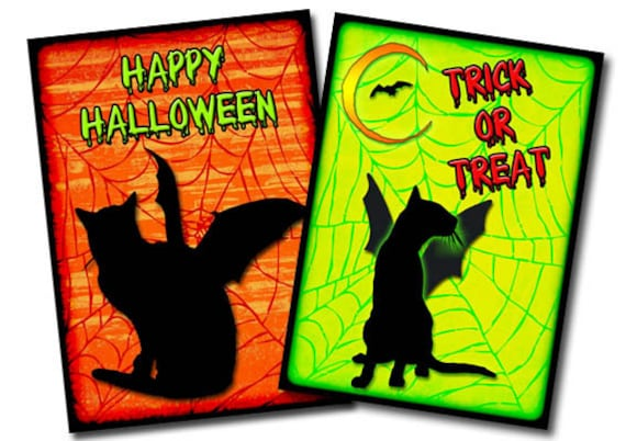 Halloween Bat Cat Art Cards 9 Spooky digital download ATC Printable Digital Collage Sheet